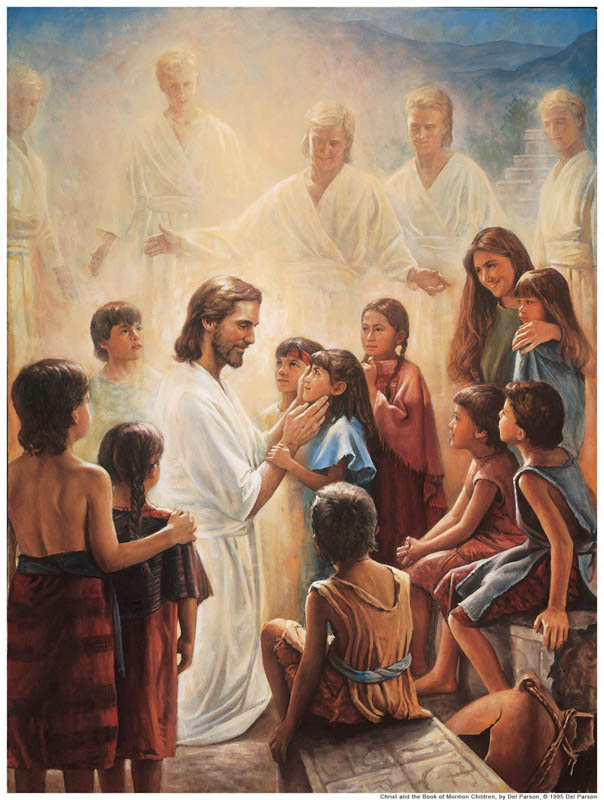 Jesus Christ with Book of Mormon children.