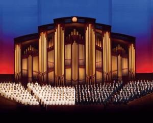 The Mormon Tabernacle Choir singing.