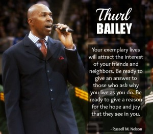 Thurl Bailey with a quote from Russell Nelson about sharing the Gospel of Jesus Christ.