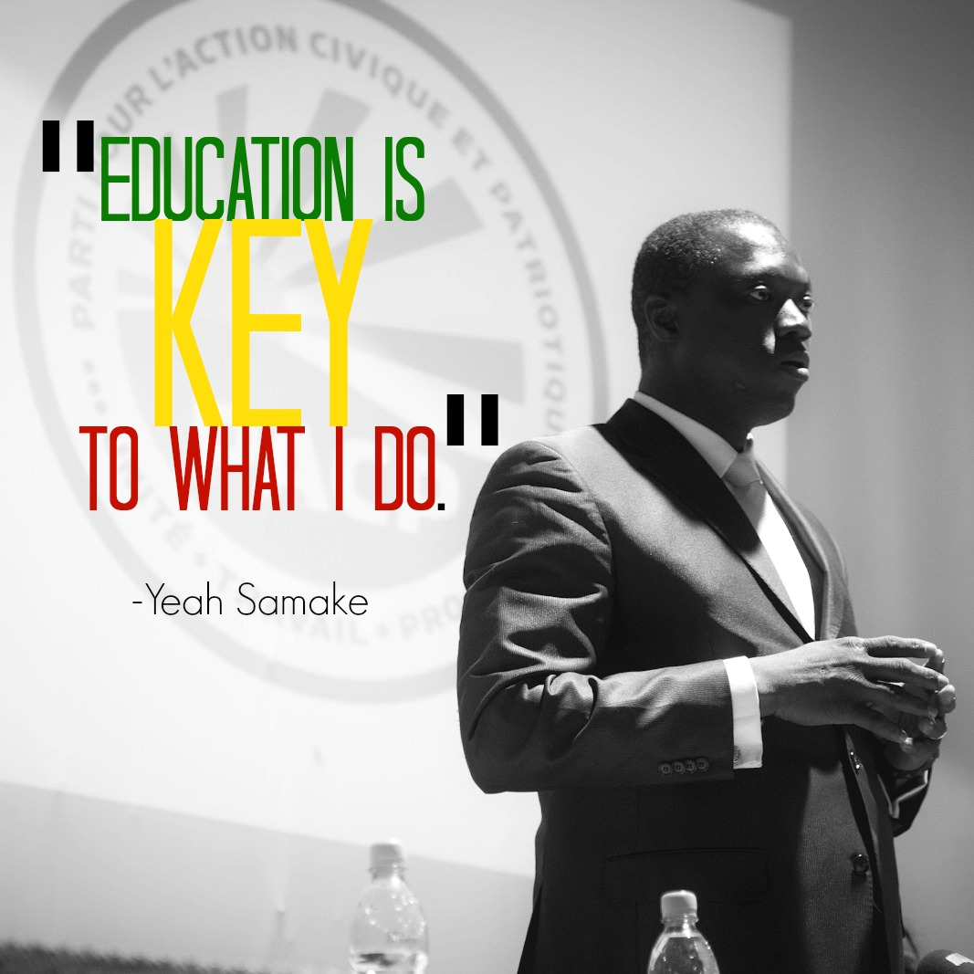 Yeah Samake speaking with a quote about education.