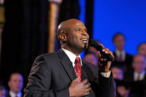 Alex Boye member of the Mormon Tabernacle Choir singing a solo.