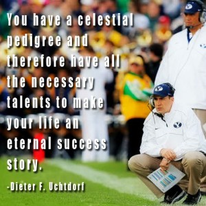 Brandon Doman crouching on sidelines at BYU football game. Quote about talents from Dieter Uchtdorf.