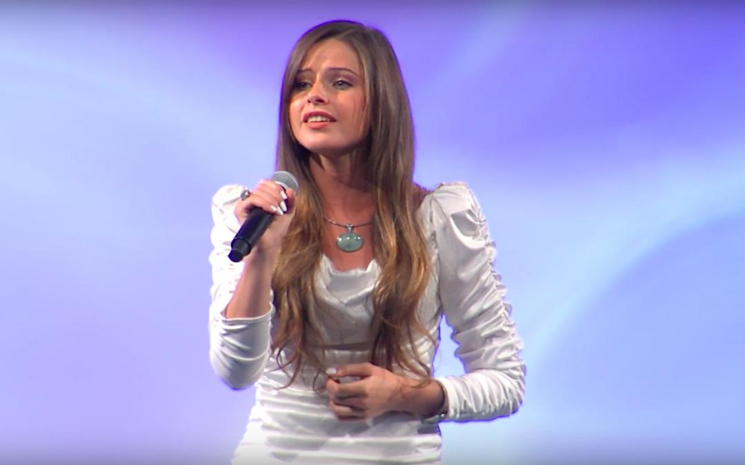 Nadia Khristean singing the naitonal anthem