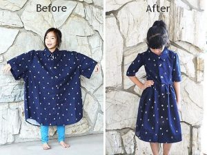 Sarah Tyau redesigns a men's shirt into a girl's dress