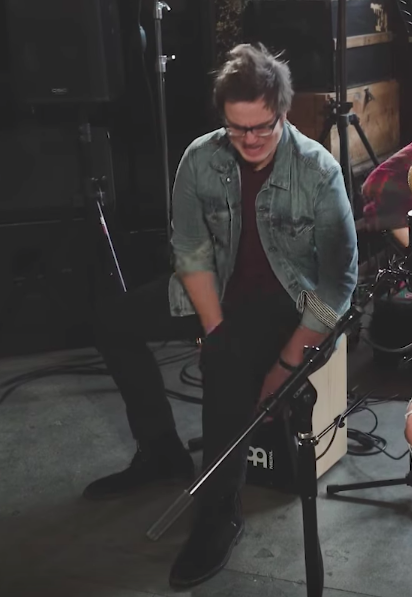 "Lindsey Stirling's drummer Drew making a face during creation of ""Boulevard of Broken Dreams"" Green Day cover"
