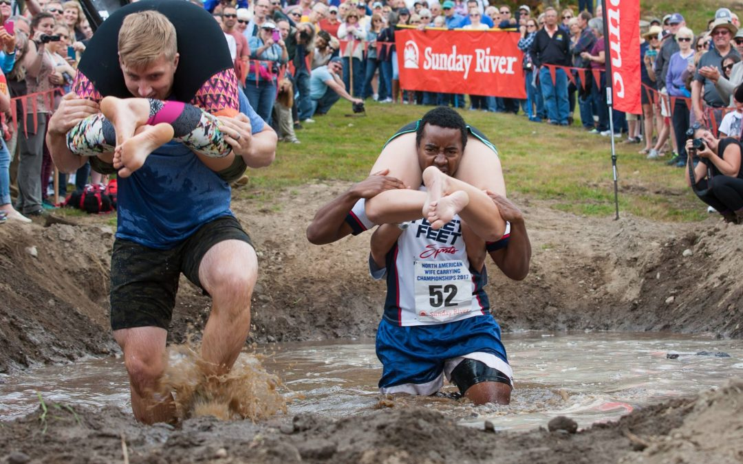 LDS Couple Wins North American Wife Carrying Race