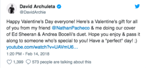 David Archuleta, tweet, Song announcement