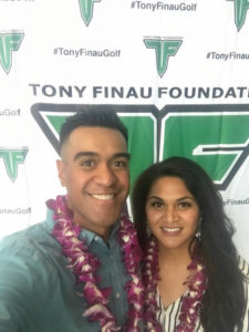 Tony Finau and his wife, Alayna