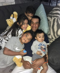 Tony Finau with his four children
