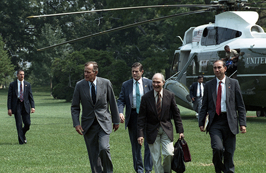 Brent Scowcroft and President Bush - Marine 1